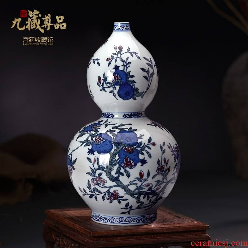 Jingdezhen blue and white youligong hand - made ceramics vase colorful figure gourd bottle of Chinese style living room three fruit furnishing articles