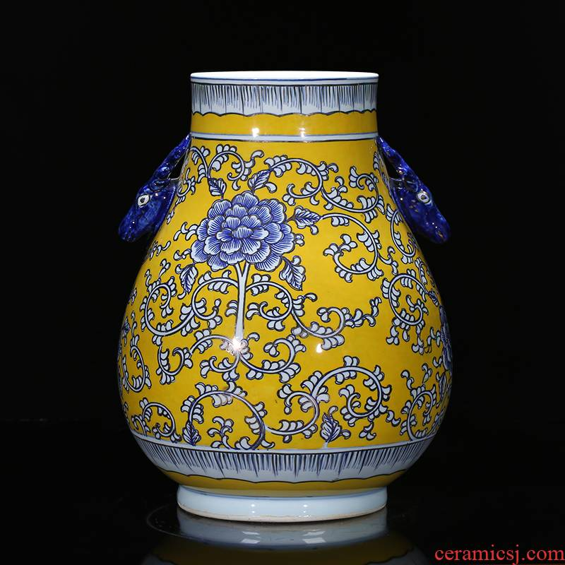 Jingdezhen ceramics antique vase hand - made painting and calligraphy calligraphy and painting tube of classical Chinese style living room decorations study furnishing articles