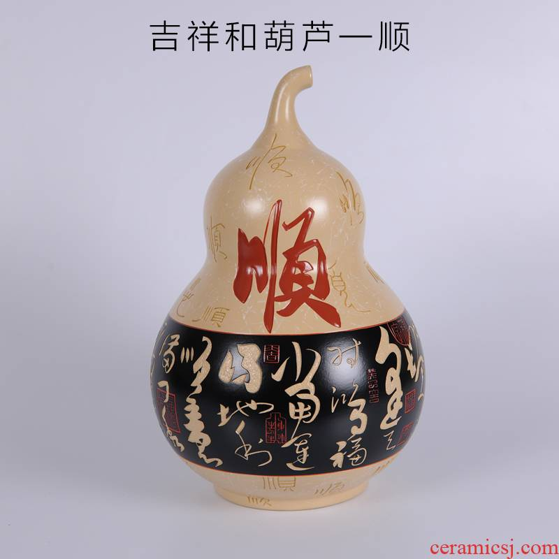 Creative hand - made ceramic arts and crafts of the big gourd made pottery sitting room adornment of Chinese style household furnishing articles birthday birthday gift