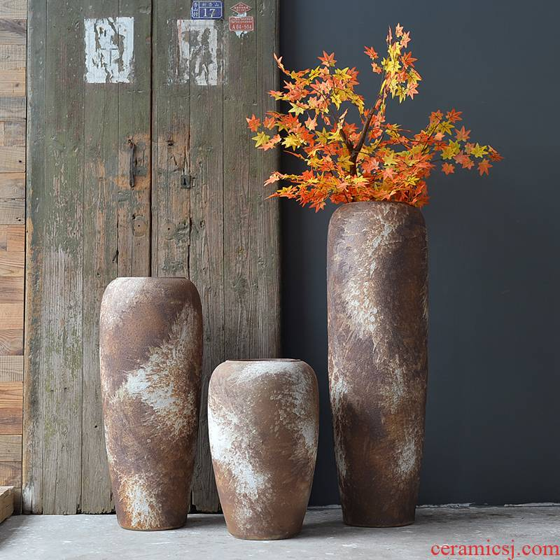 Ceramic vase landing a large sitting room place dried flower arranging flowers Nordic coarse pottery rust color restoring ancient ways, ripple flowerpot decoration