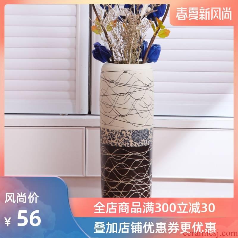 Jingdezhen ceramic flower vases, landing the modern rural style table vase three - piece flower home furnishing articles