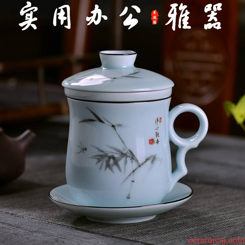 Jingdezhen ceramic tea cups with cover with filter good water glass tea cup office cup and personal home