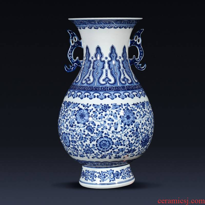 Jingdezhen ceramics imitation qianlong hand - made of blue and white porcelain vases, flower arrangement of the sitting room porch decoration of the new Chinese style furnishing articles