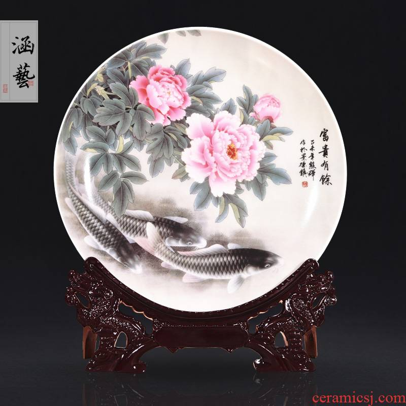 Jingdezhen ceramics well - off decoration sat dish hang dish of new Chinese style porch wine handicraft decoration in the living room