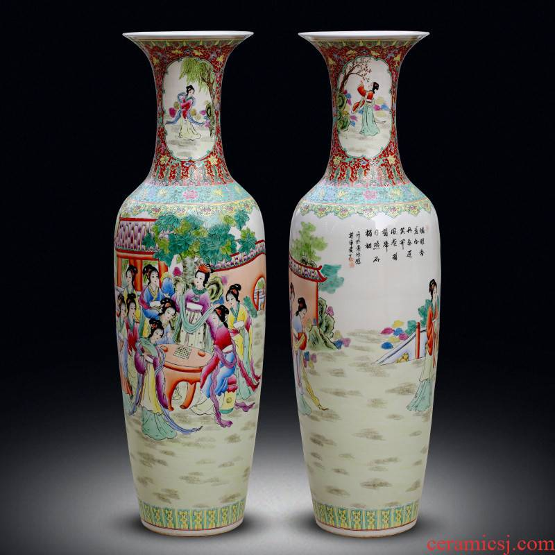 Jingdezhen ceramics of large vases, hand - made pastel jinling twelve women of Chinese big sitting room adornment furnishing articles