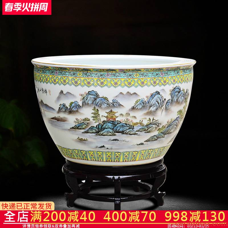 Jingdezhen ceramic hand - made tank sitting room place the calligraphy and painting cylinder large fish bowl goldfish bowl lotus flower pot FCG