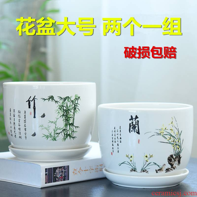 Heavy flowerpot ceramic large special offer a clearance bracketplant with tray was creative money plant contracted household small fleshy flower pot