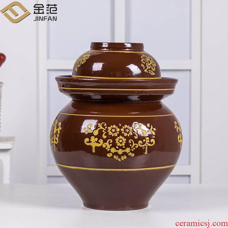 Jingdezhen household pickle jar with cover sauerkraut cylinder seal earthenware trumpet kimchi to thicken the old pickle jar