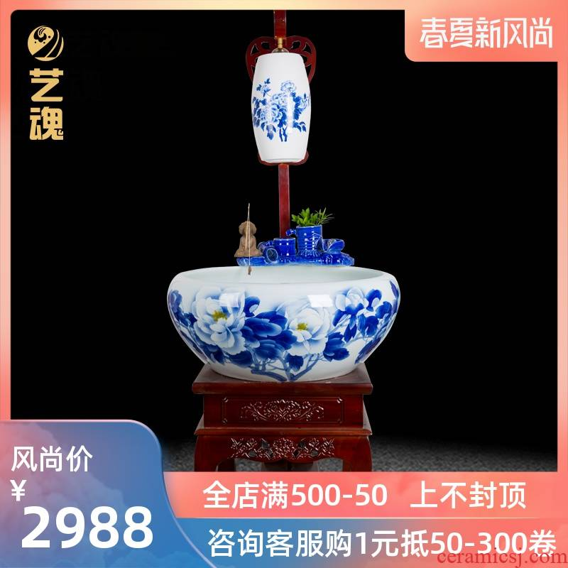 Jingdezhen ceramic aquarium fish tank sitting room ground loop filter with water oxygen goldfish turtle cylinder aquarium