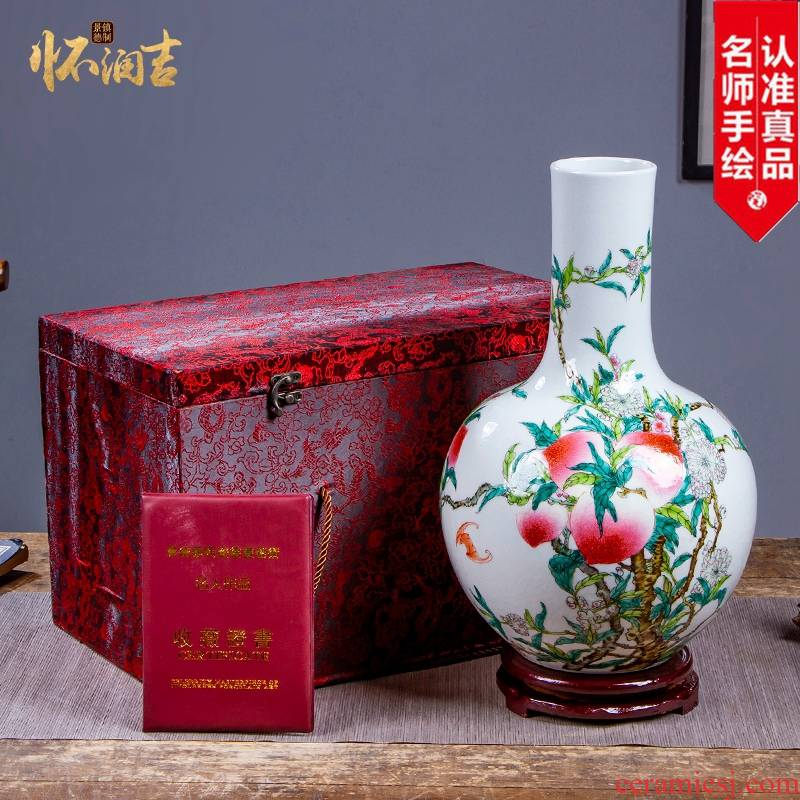 Jingdezhen ceramic vases, antique hand - made vases peach life of bottles of modern Chinese style collection office furnishing articles