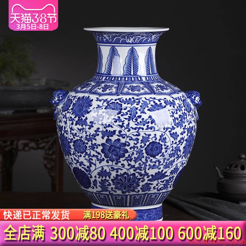Blue and white porcelain of jingdezhen ceramics large vases, flower arranging furnishing articles archaize of new Chinese style porch decoration large living room