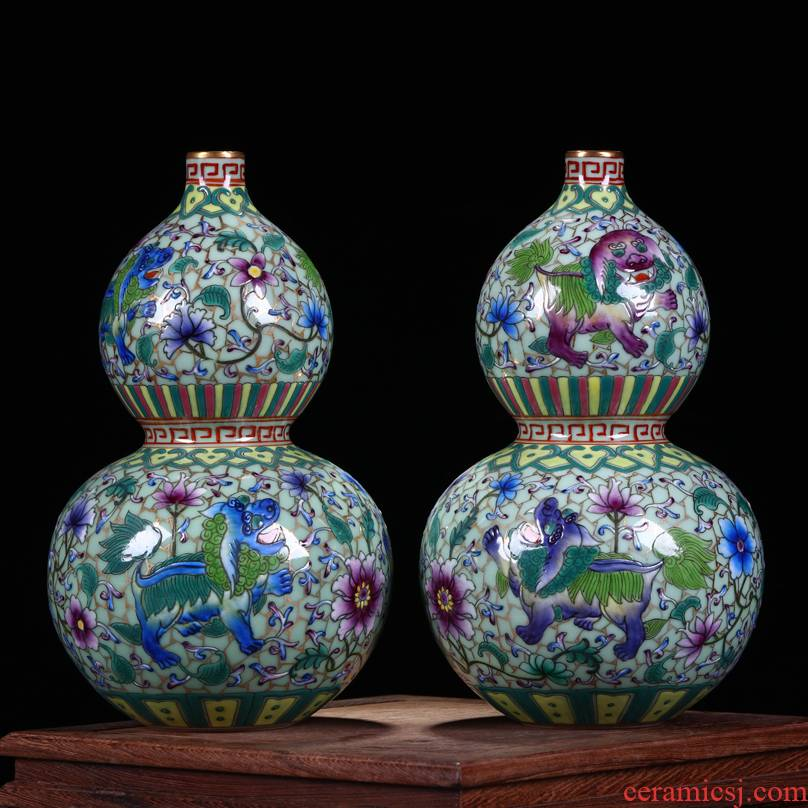Jingdezhen ceramics antique hand - made colored enamel paint kirin gourd bottle of Chinese style living room porch decorate furnishing articles