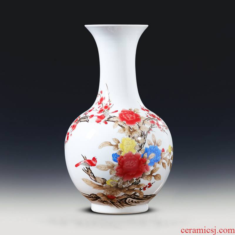 Jingdezhen ceramics powder enamel vase rich ancient frame the sitting room of Chinese style household adornment TV ark, place adorn article