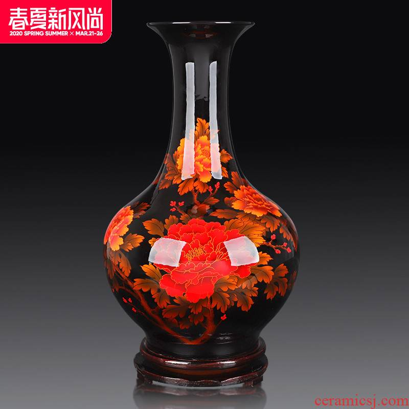Jingdezhen ceramics vase furnishing articles, black flower arranging the sitting room of Chinese style household decorations arts and crafts porcelain decoration