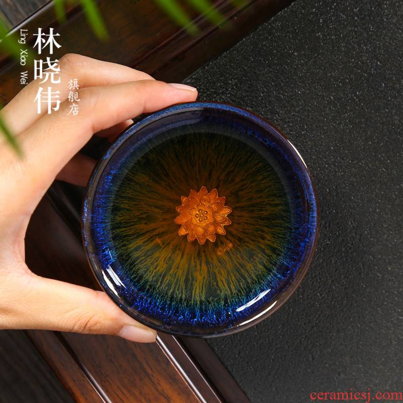 Lin Xiaowei silver TuHao droplets red glaze, obsidian masterpieces change built light ceramic cups puer tea bowl of tea