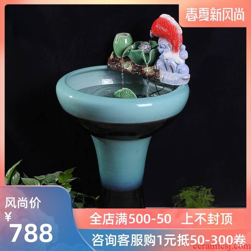 Jingdezhen ceramics pillar landing fish tank oversized LianHe flowerpot brocade carp cylinder goldfish bowl water lily bowl