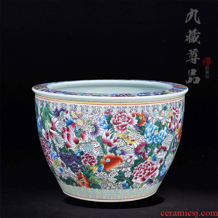 Jingdezhen ceramics antique hand - made famille rose flower is I the cylinder handicraft furnishing articles TV ark, adornment