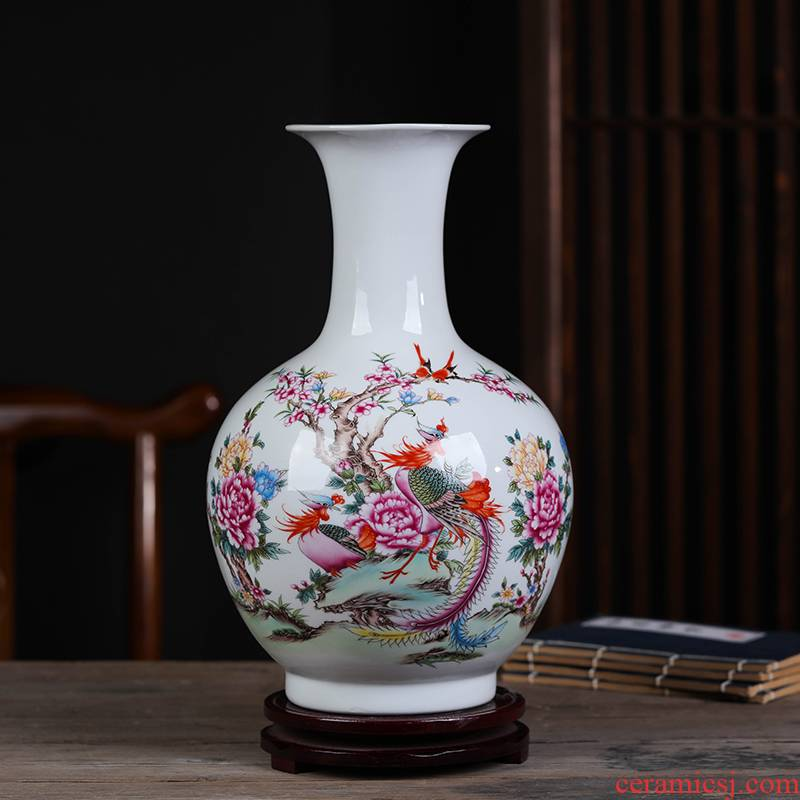 Jingdezhen TaoQinYu famille rose porcelain vase nature science wearing furnishing articles sitting room porch wine bottle of home decoration