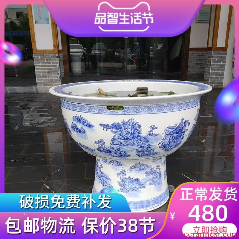Jingdezhen ceramics column koi fish tanks of large cylinder cylinder water lily basin blue and white landscape is suing the fish tank