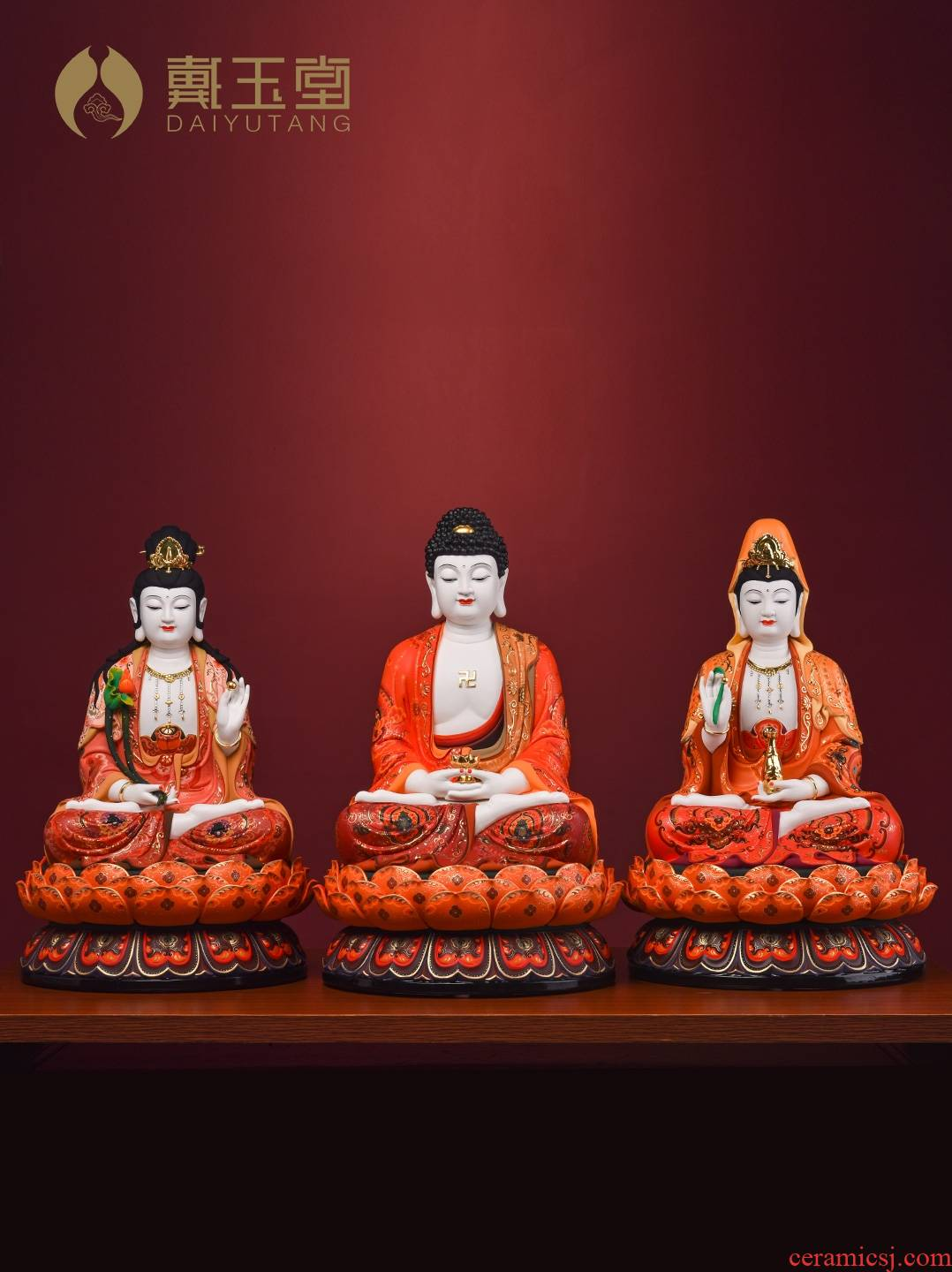 Yutang dai shut down is off the shelves 】 【 very colourful gods worship that occupy the home furnishing articles three holy ceramic Buddha in the west