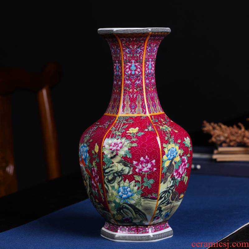 Archaize hexagonal vase qingming classical jingdezhen ceramics decorating furniture accessories the sitting room is the study of the reward bottle