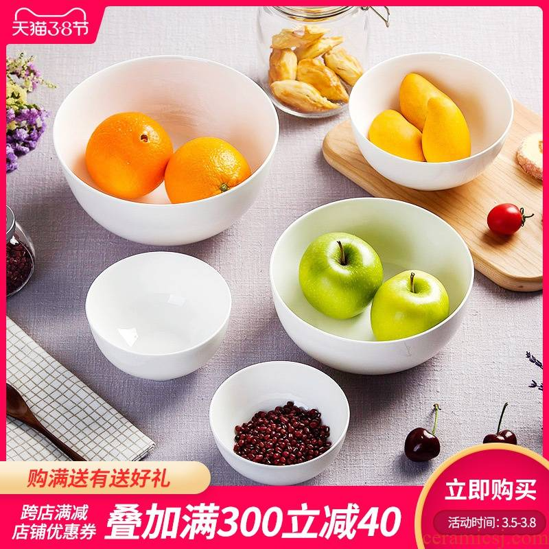 Jingdezhen pure white ipads China tableware bowl bowl rainbow such as bowl dish bowl of soup bowl mercifully rainbow such as to use the size of the bowl