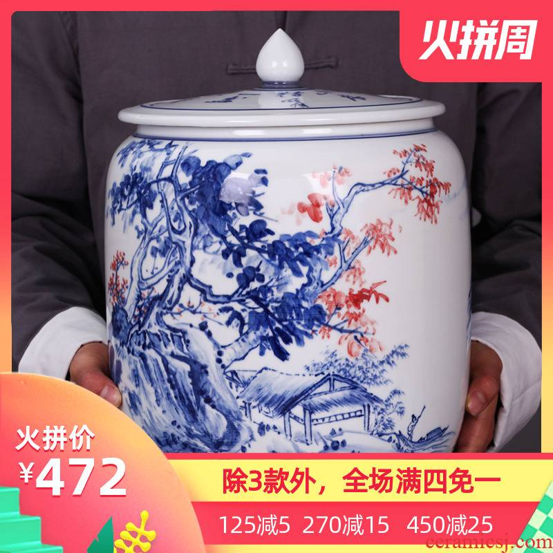Jingdezhen ceramic general puer tea cake large pot sealed container tank storage tank porcelain tea pot