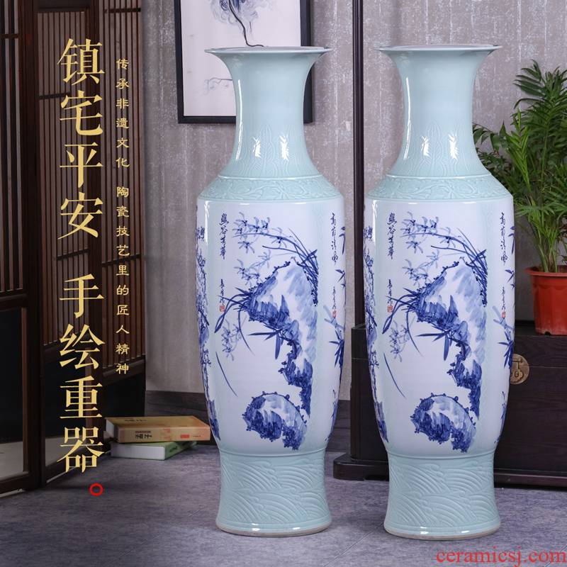Jingdezhen ceramics vase furnishing articles Chinese sitting room flower arranging hand - made landing by patterns of blue and white porcelain vases