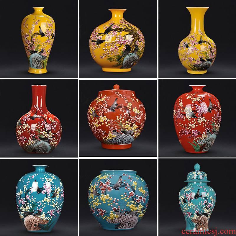 Jingdezhen ceramics hand - made xi mei tip bottles of living room flower vase on household crafts porcelain furnishing articles