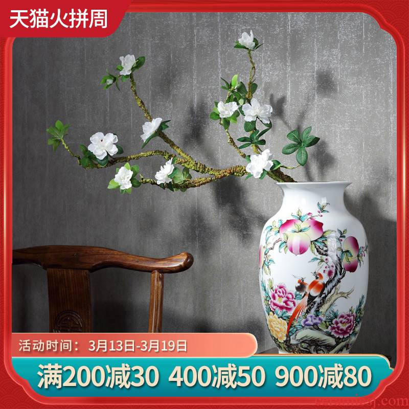 Jingdezhen ceramics vase furnishing articles pastel landscape flower arranging, new Chinese style household living room TV ark, adornment