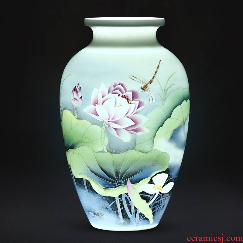 Jingdezhen ceramics vase furnishing articles flower arranging famous hand - made of office decoration of Chinese style household living room
