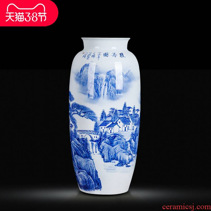 Jingdezhen ceramics hand - made large blue and white porcelain vase home sitting room study handicraft furnishing articles ornaments
