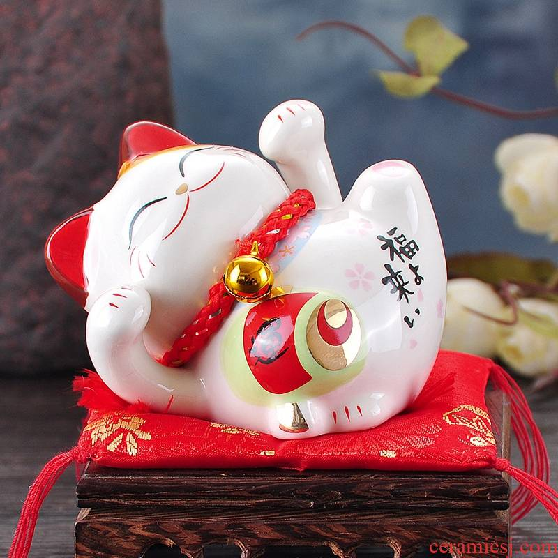 Stone workshop mini plutus cat trumpet furnishing articles piggy bank ceramic household adornment birthday gift in the New Year