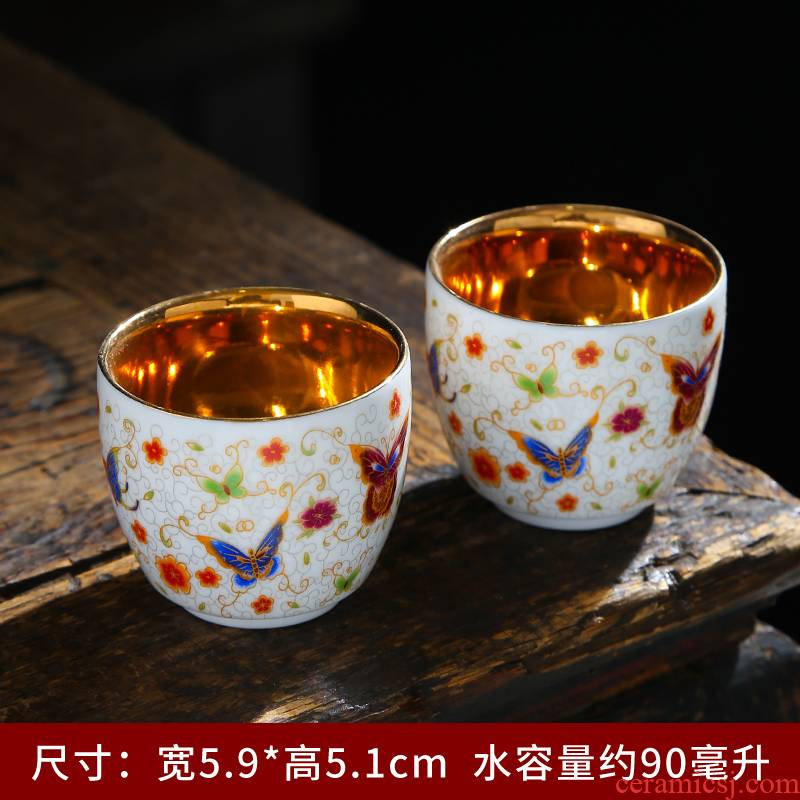 High - end masters cup cup dehua white porcelain sample tea cup household gifts by patterns suet jade porcelain tea set, ceramic