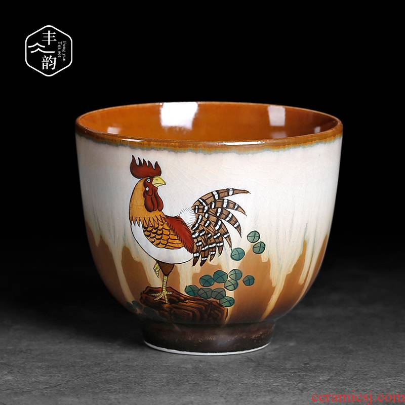 Jingdezhen Chinese antique hand - made ceramic masters cup chicken cylinder kung fu tea cups sample tea cup in use