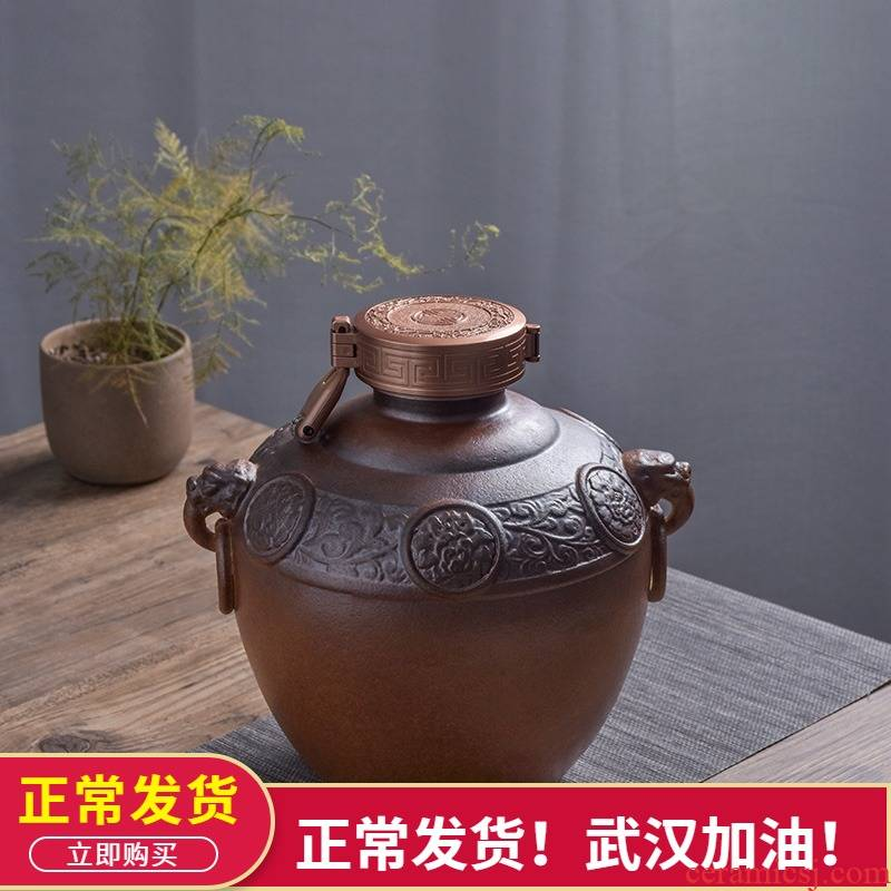 The Empty jar household seal 5 jins of jingdezhen ceramics with special instruments mercifully wine jar jar of wine bottles