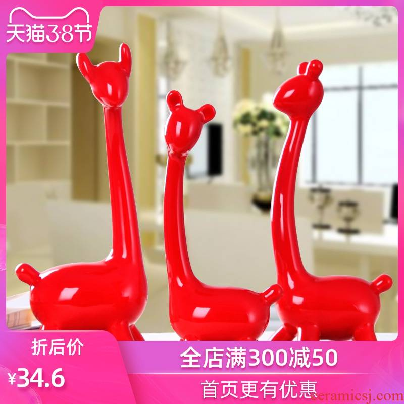 Modern living room TV cabinet furnishing articles home decoration wedding gifts ceramic handicraft three deer