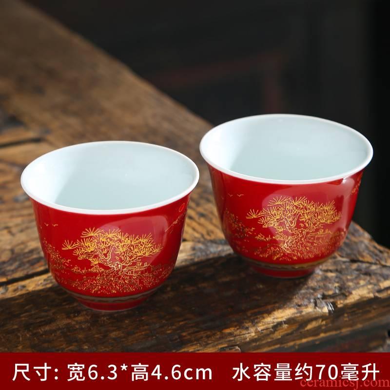 Jingdezhen blue and white porcelain sample tea cup single CPU kung fu tea tea set a single small ceramic tea bowl masters cup