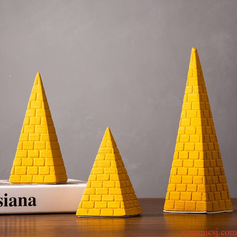 Pyramid furnishing articles creative fashion and move decoration ceramics handicraft art study office desk boss
