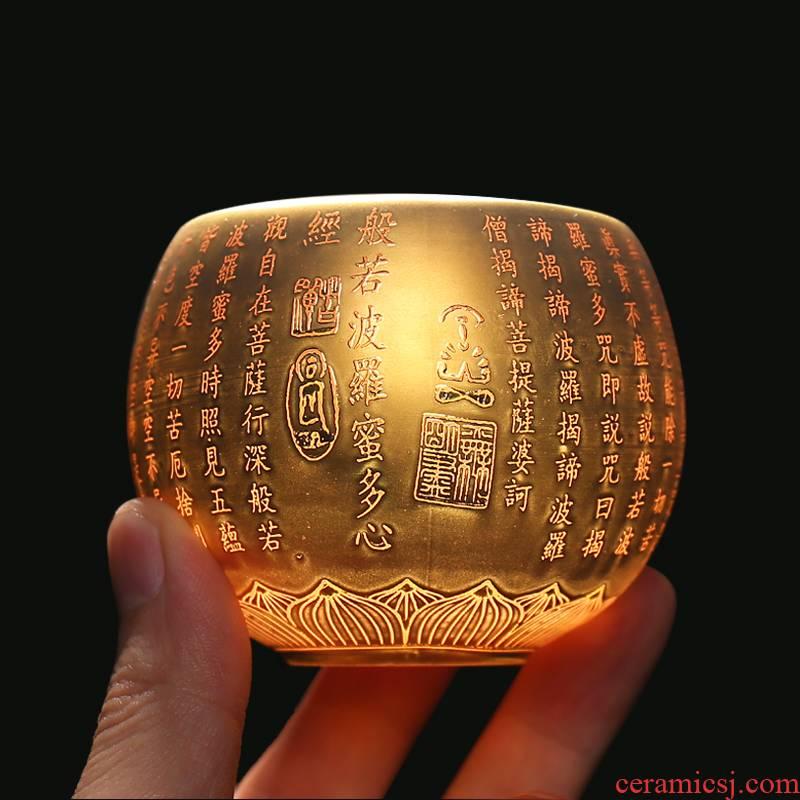 White porcelain single suet jade porcelain sample tea cup heart sutra ceramic gold 24 k gold master cup lamp that kung fu tea cups