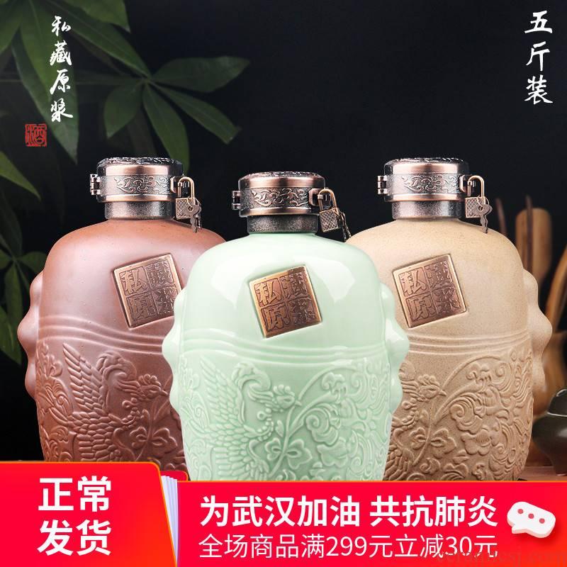 Jingdezhen ceramic bottle 1 catty 3 kg 5 kg jars jugs home wine bottle collection gift box