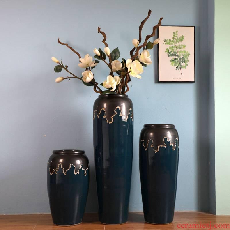 Jingdezhen ceramic big vase colored glaze flower arranging landing place villa living room flower implement simple modern pottery restoring ancient ways