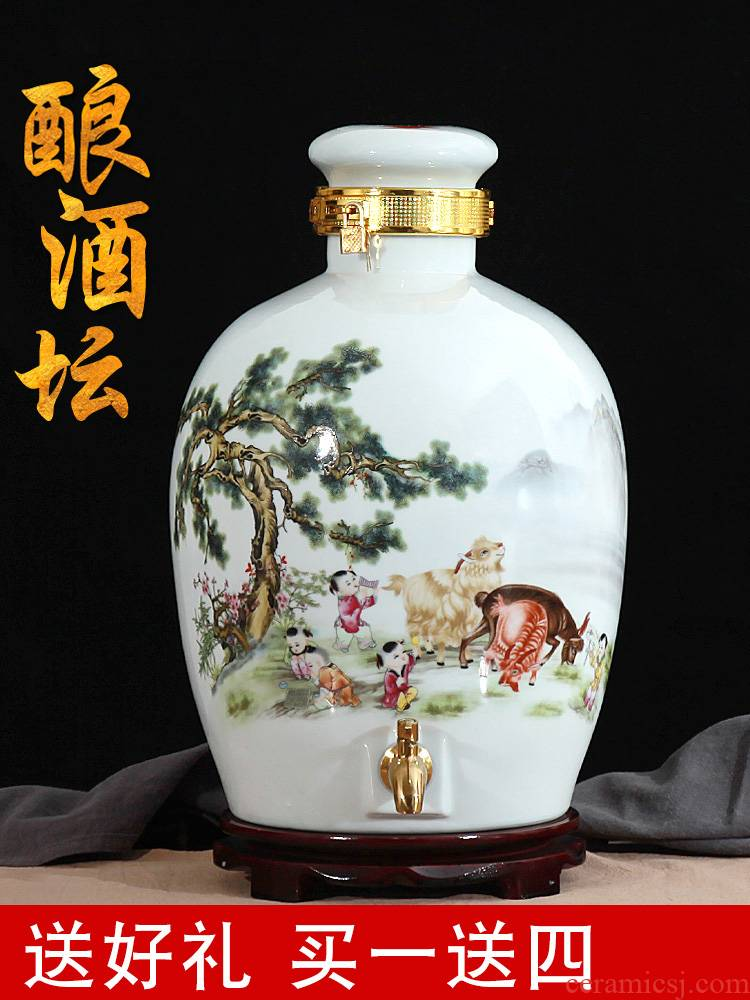 Jingdezhen ceramic wine wine jar cylinder 10 jins 20 jins 30 jins antique bottle seal hip flask hoard
