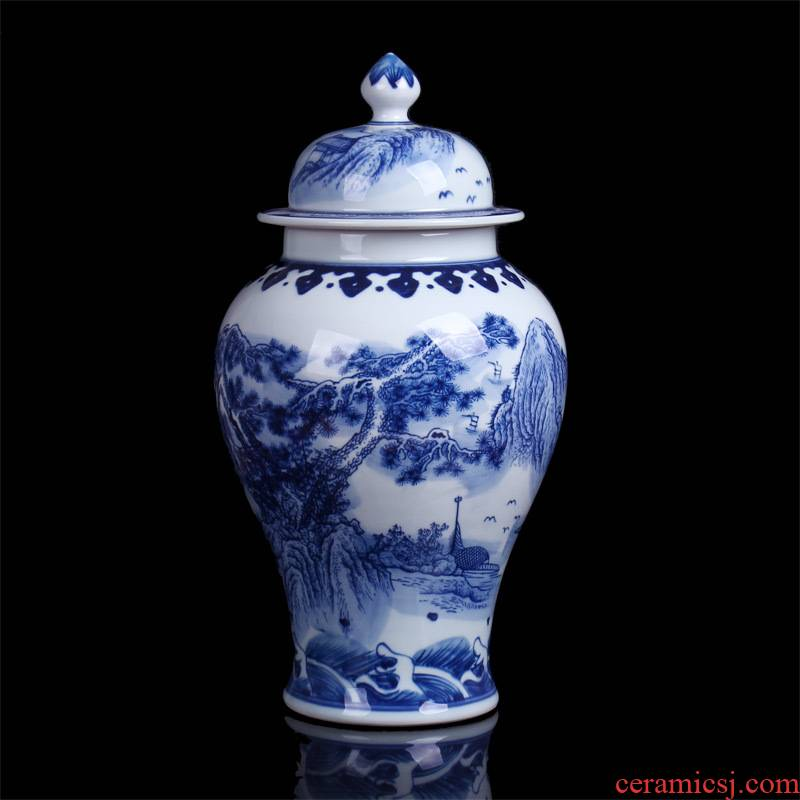 Jingdezhen ceramics archaize general tank storage landscape of blue and white porcelain vase Chinese sitting room adornment is placed