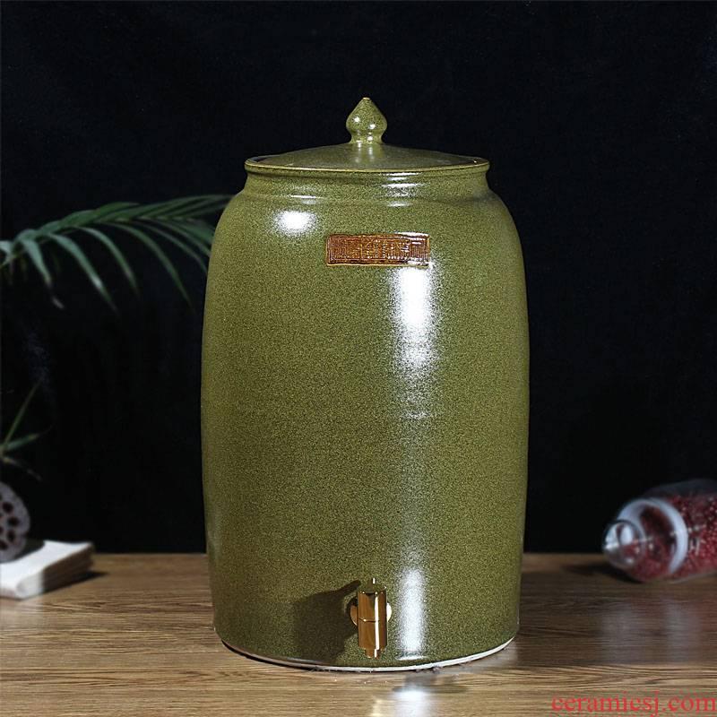 Jingdezhen ceramic tea at the end of the barrel it jars tank cylinder tea urn 30 jins 50 kg 100 catties