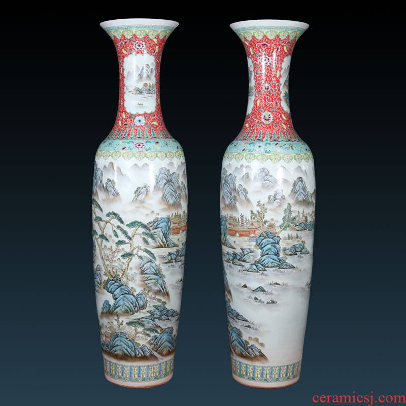 Jingdezhen ceramics hand - made pastel landscapes of large vases, Chinese style living room TV ark adornment furnishing articles