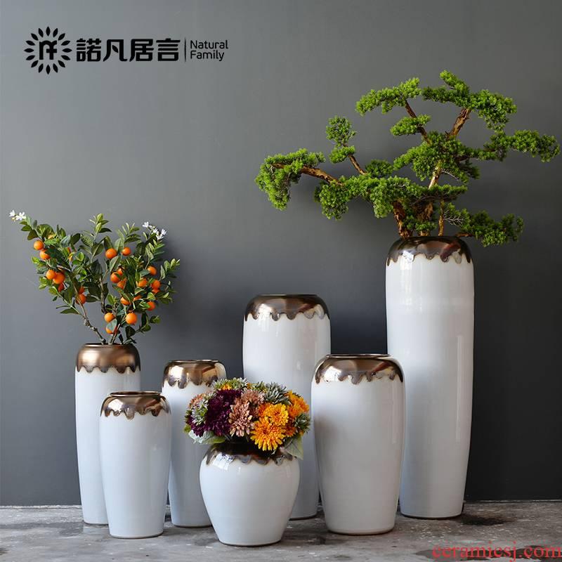 Jingdezhen ceramic vase landed a large sitting room light dry flower arranging furnishing articles of luxury white Nordic modern simple decoration