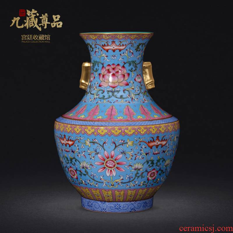 Jingdezhen ceramics powder imitation the qing qianlong pastel to tie up branch grain see ears crafts vase collection