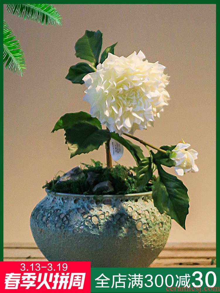 Retro ceramic sitting room mesa adornment office green plant flowers, potted small bonsai big zen furnishing articles