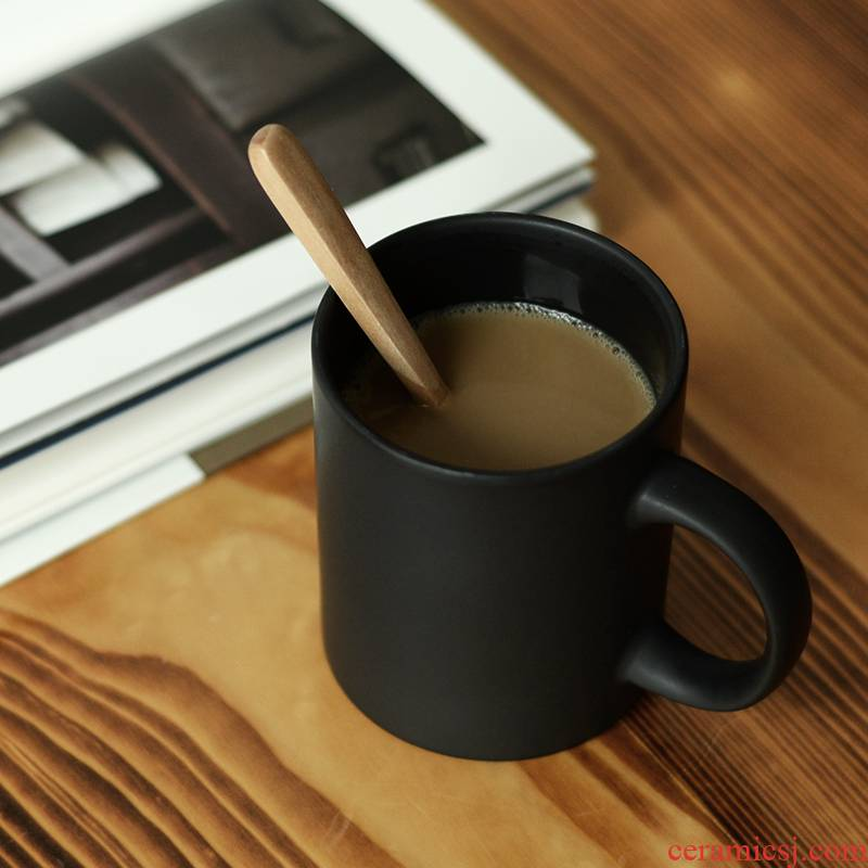 Coffee cup black frosted glass home mugs custom printed China cups ceramic northern wind ins